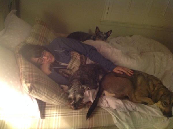 Keeping warm. Cuddling up.